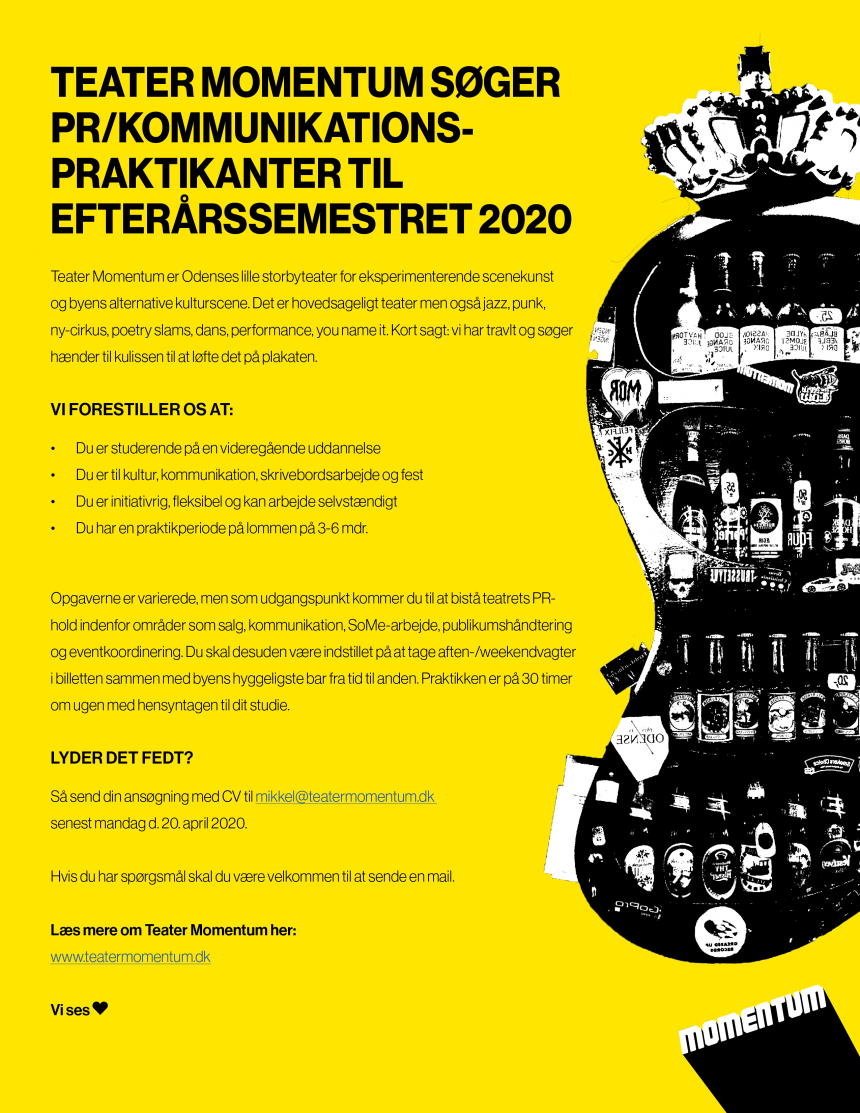 TEATER MOMENTUM SØGER PR/ KOMMUNIKATIONS-PRAKTIKANTER TIL EFTERÅRSSEMESTRET 2020