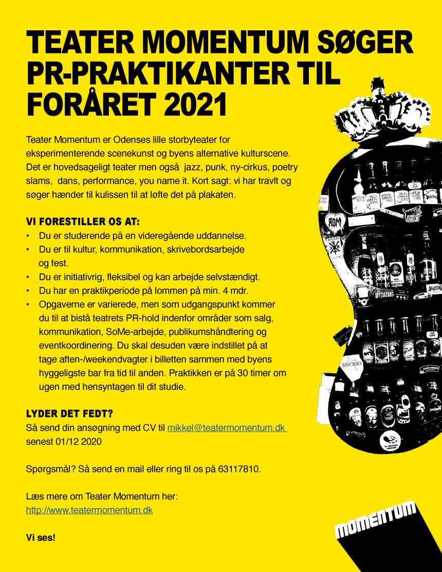 TEATER MOMENTUM SØGER PR/ KOMMUNIKATIONS-PRAKTIKANTER TIL EFTERÅRSSEMESTRET 2021